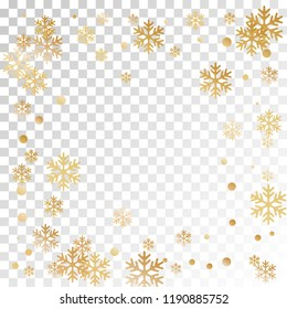 Winter snowflakes and circles border vector design. Unusual gradient snow flakes isolated banner background. New Year card border winter pattern with minimal snowflake shapes isolated.