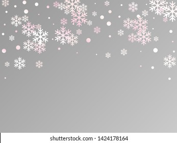 Winter snowflakes and circles border vector design. Unusual gradient snow flakes isolated card background. New Year card border holiday pattern with falling snowflake shapes isolated.