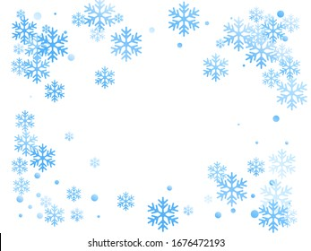 Winter snowflakes and circles border vector backdrop. Unusual gradient snow flakes isolated poster background. New Year card border winter pattern with cute snowflake shapes isolated.
