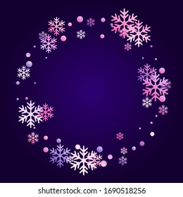Winter snowflakes and circles border vector design. Unusual gradient snow flakes isolated card background. New Year card border winter pattern with cute snowflake elements isolated.