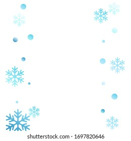 Winter snowflakes and circles border vector design. Unusual gradient snow flakes isolated card background. New Year card border winter pattern with minimal snowflake elements isolated.
