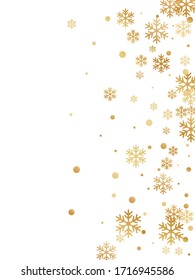 Winter snowflakes and circles border vector design. Unusual gradient snow flakes isolated card background. New Year card border holiday pattern with cool snowflake shapes isolated.