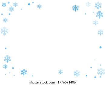 Winter snowflakes and circles border vector backdrop. Unusual gradient snow flakes isolated flyer background. New Year card border winter pattern with cool snowflake shapes isolated.