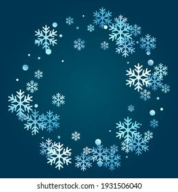 Winter snowflakes and circles border vector illustration. Unusual gradient snow flakes isolated banner background. New Year card border pattern template with flying snowflake shapes isolated.