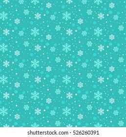 Winter snowflakes seamless vector pattern in flat design style