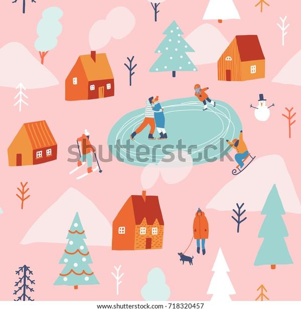 Зимний снег Рождественский праздник бесшовные узор с людьми катание на лыжах, санках и катание на коньках.