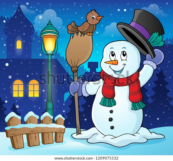 Winter snowman subject image 3 - eps10 vector illustration.