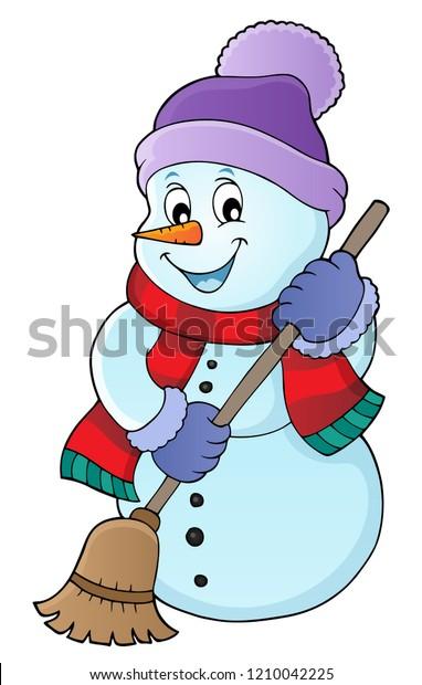 Winter snowman subject image 5 - eps10 vector illustration.