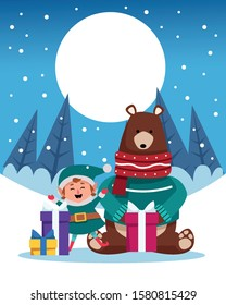 winter snowscape christmas scene with bear grizzly vector illustration design