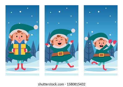 winter snowscape christmas scene with elfs characters vector illustration design