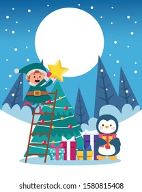 winter snowscape christmas scene with tree and penguin vector illustration design