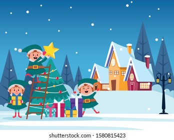 winter snowscape christmas scene with tree and elfs vector illustration design