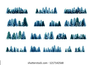 Winter snowy forest. Christmas tree decoration or design  elemets. Horizontal dividers and borders collection.