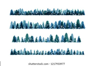Winter snowy forest. Christmas tree decoration or design  elemets. Horizontal borders collection.