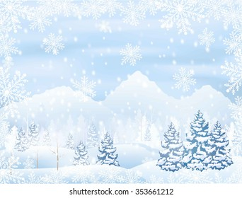 winter snowy forest scenery with mountain on horizon, snowflakes frame , vector illustration