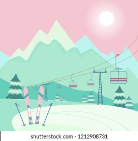 Winter snowy landscape with Ski equipment skis and ski poles, lift, trail, Alps, fir trees, sunny weather, mountains panoramic background. Ski resort season is open. Winter web banner design.