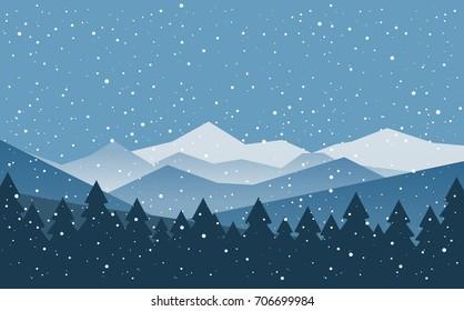 Winter snowy mountains landscape