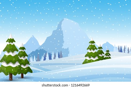 Winter snowy Mountains landscape with pines, hills and snowflakes. Vector illustration in flat style