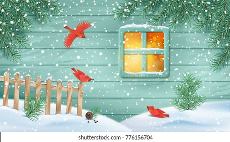 Winter snowy scene. Old window of a wooden house wall, fir-tree branches, birds, fence and snow