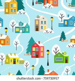 Winter snowy town or village seamless pattern. Merry Christmas and Happy New Year landscape. Vector children flat cartoon illustration.