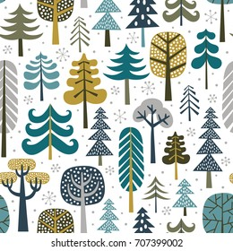 Winter snowy woods seamless pattern. Silhouettes of cute snowy trees on white background. Repetitive christmas vector wallpaper.