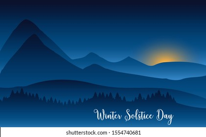 Winter solstice day in December the 21. Greeting card design template. The dark sky with sunset or sunrise. The longest night in the year