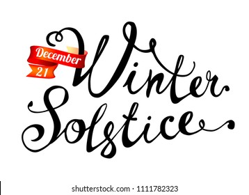Winter solstice. December 21. Hand written doodle vector word on white background