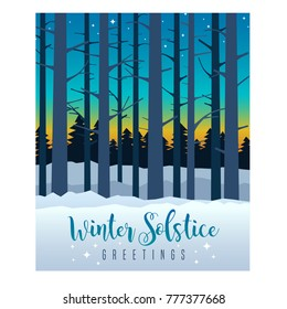 Winter Solstice greeting card design. Colorful evening sky with sunset and stars behind silhouette of tall bare trees. Vector Illustration.