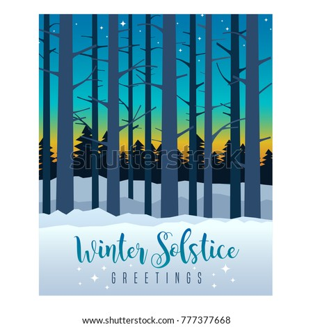 Winter solstice greeting card design colorful stock vector royalty winter solstice greeting card design colorful evening sky with sunset and stars behind silhouette of m4hsunfo