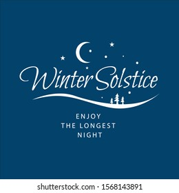 winter soltice lettering vector typography. hand drawn calligraphy winter soltice enjoy the longest night letter for background poster banner. isolated illustration.