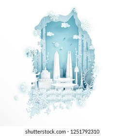 Winter in South Korea for travel and tour advertising concept with world famous landmark in paper cut style vector illustration.