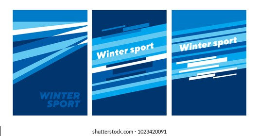 Winter sport abstract abstract poster template. Stock vector illustration. Stripe, line blue dynamic composition for card, invitations