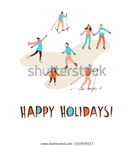 Winter Sport Activities Christmas Greeting Card Stock Vector