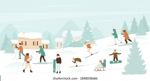 Winter sport activity vector illustration. Cartoon active ski and snowboard riders people have fun, man woman kid characters snowboarding, sledding and skiing in Christmas snow landscape background