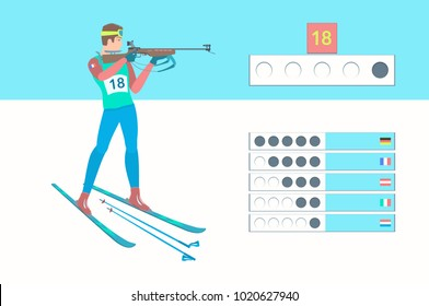 Winter sport Biathlon. Biathlete shooting in the standing position. Rifleman with a small-caliber rifle. Vector illustration EPS-8.