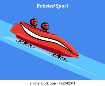 Winter Sport Bobsleigh Bobsled Graphic Vector Illustration