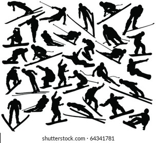 Winter sport collection silhouettes - vector
