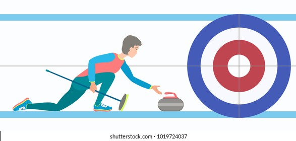 Winter sport Curling. Curling player with stone and broom on a rink. Vector illustration EPS-8.