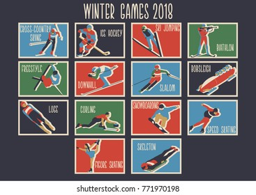 Winter Sport Games 2018 Original Icons, Logos