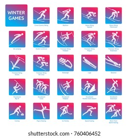 Winter sport games competition icon. All olympic species of events in 2018. Winter sports icons set, vector pictograms for web, other projects. Vector illustration isolated on a white background