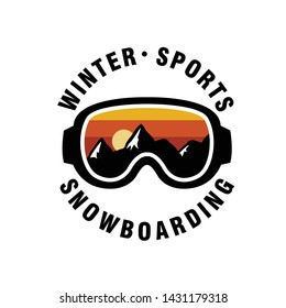 Winter Sport Goggles with Mountain View Decal - Vector