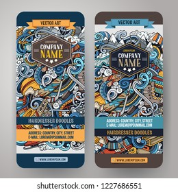 Winter sport hand drawn doodle banners set. Cartoon detailed flyers. Cold activities identity with objects and symbols. Ski resort background illustrations. Color vector design elements