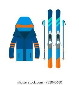 Winter sport icons jacket and skiing. Skiing and snowboarding set equipment isolated on white background in flat style design. Elements for ski resort picture, mountain activities, vector illustration