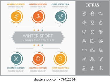 Winter sport infographic template, elements and icons. Infograph includes customizable graphs, charts, line icon set with sport equipment, winner trophy, team games, champion pedestal, athlete etc.