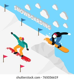 Winter sport isometric people composition with snowboard rider people characters in uniform with 3d text and clouds vector illustration