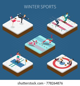 Winter sport isometric people composition with olympic athletes in sportswear doing different kinds of sport vector illustration