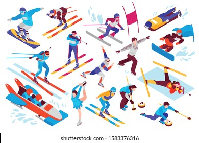 Winter sport isometric set with snowboarding alpine skiing biathlon curling figure skating bobsled isolated vector illustration