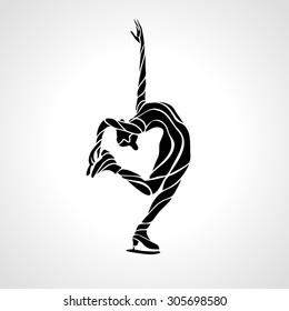 Winter sport. Ladies figure skating silhouette.  Ice show. Vector illustration