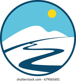Winter Sport Logo. Winter Landscakpe, Mountain, River and Snow in a Flat Style