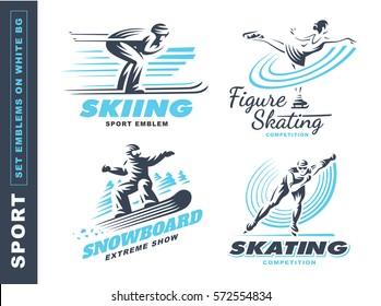 Winter sport logo set - vector illustration, emblem design on white background